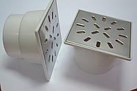 Трап с гидрозатвором для душа, горизонтальный D50, нержавеющая решетка 150*150мм
