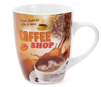 Кружка фарфоровая 350мл Coffee, 4 вида (334-415)