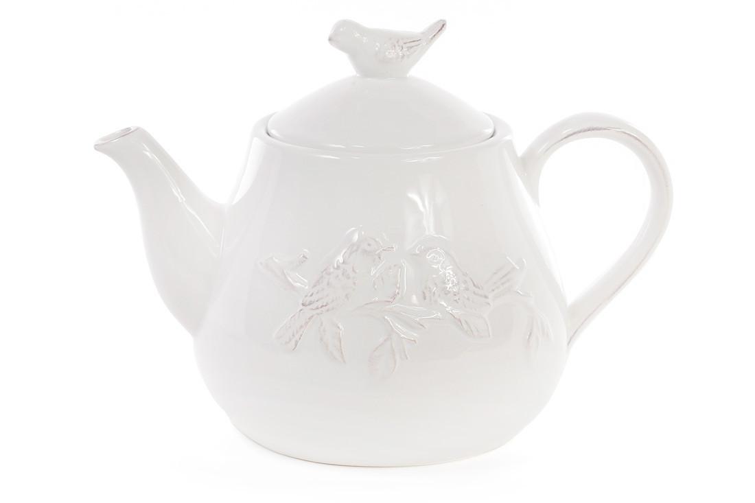 Чайник керамічний Птиці, колір - білий (545-279)