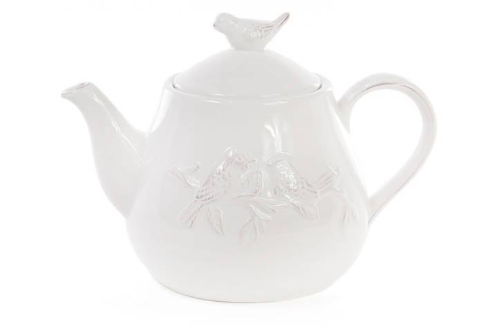 Чайник керамічний Птиці, колір - білий (545-279), фото 2