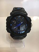Мужские спортивные водостойкие часы SKMEI (Скмей), черный с синим