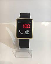 Наручные электронные LED часы, черный с золотистым