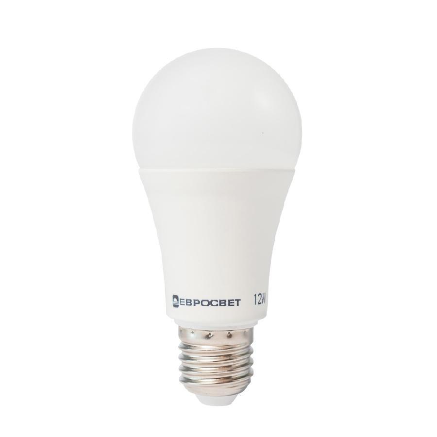 Лампа светодиодная ЕВРОСВЕТ 12Вт 3000К A-12-3000-27 Е27