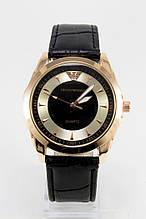 Мужские наручные часы Emporio Armani (Эмпорио Армани), золотой корпус с серебристо - чернымциферблатом