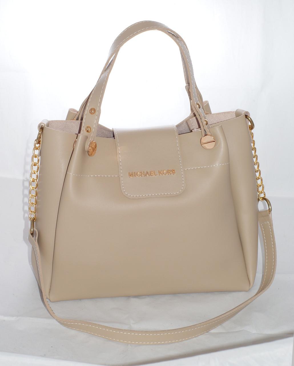 5882987e3961 Женская сумка Michael Kors (Майкл Корс), бежевая - Интернет-магазин