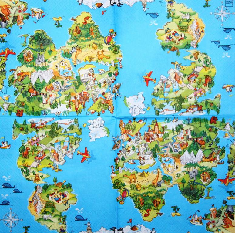 Рідкісна декупажна серветка Дитяча карта світу