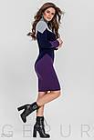 Стильное трехцветное платье-миди, фото 2
