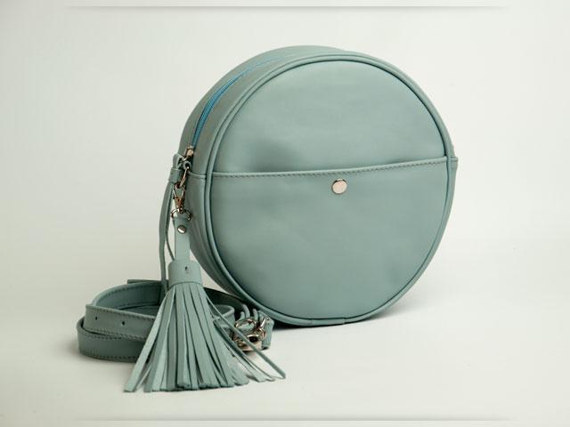 Light blue bag circle, женская круглая светло-голубая сумка