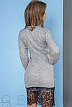 Трикотажное платье серого цвета с кружевной отделкой, фото 4