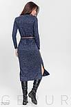 Стильное спортивное платье-миди с разрезами синего цвета, фото 3