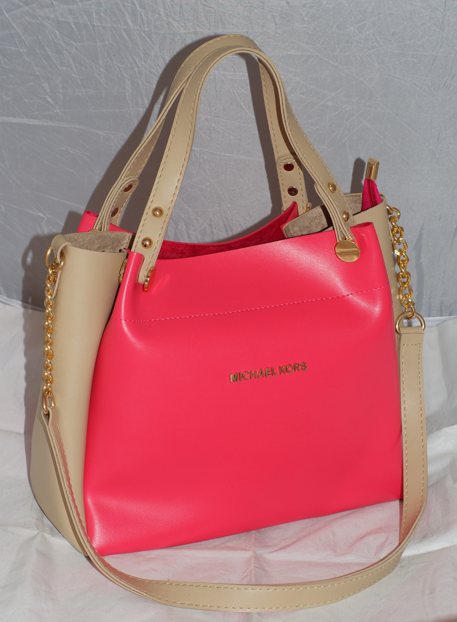50b152bc0e07 Женская сумка Michael Kors (Майкл Корс), розовая с бежевым -  Интернет-магазин