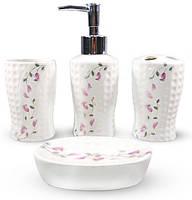 """Набор аксессуаров Floral """"Колокольчики"""" для ванной комнаты 4 предмета, керамика"""