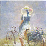 Редкая декупажная салфетка  Девушка на велосипеде