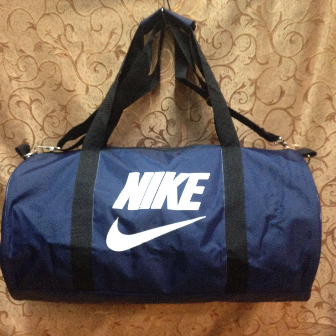 282187c455a9 Спортивная сумка-цилиндр Nike, Найк синяя с белым - Интернет-магазин