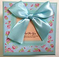 Подарочная коробка для часов Бирюзовая с бантом