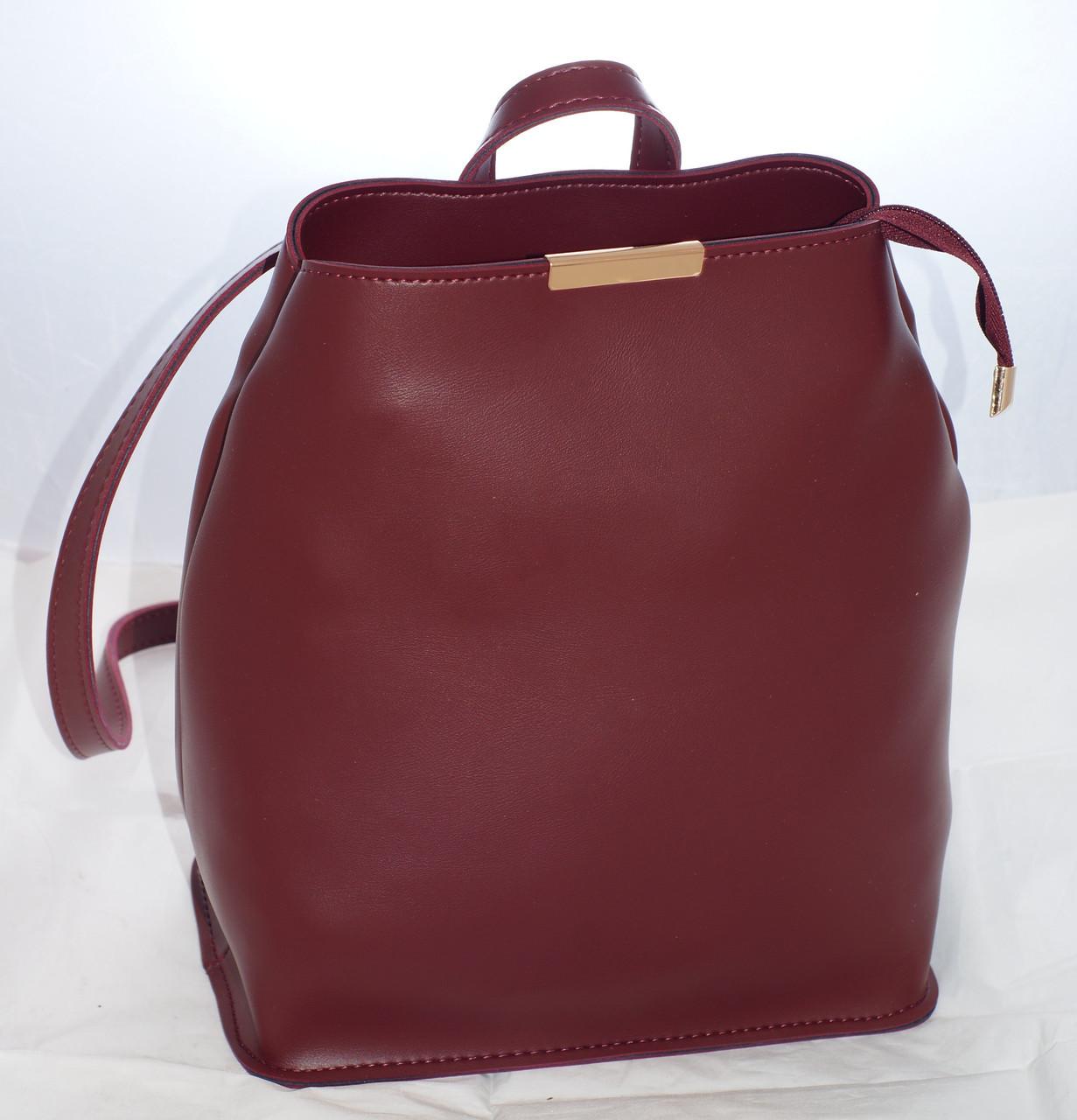 a5b945991fd6 Женская сумка-рюкзак, бордовая - Интернет-магазин