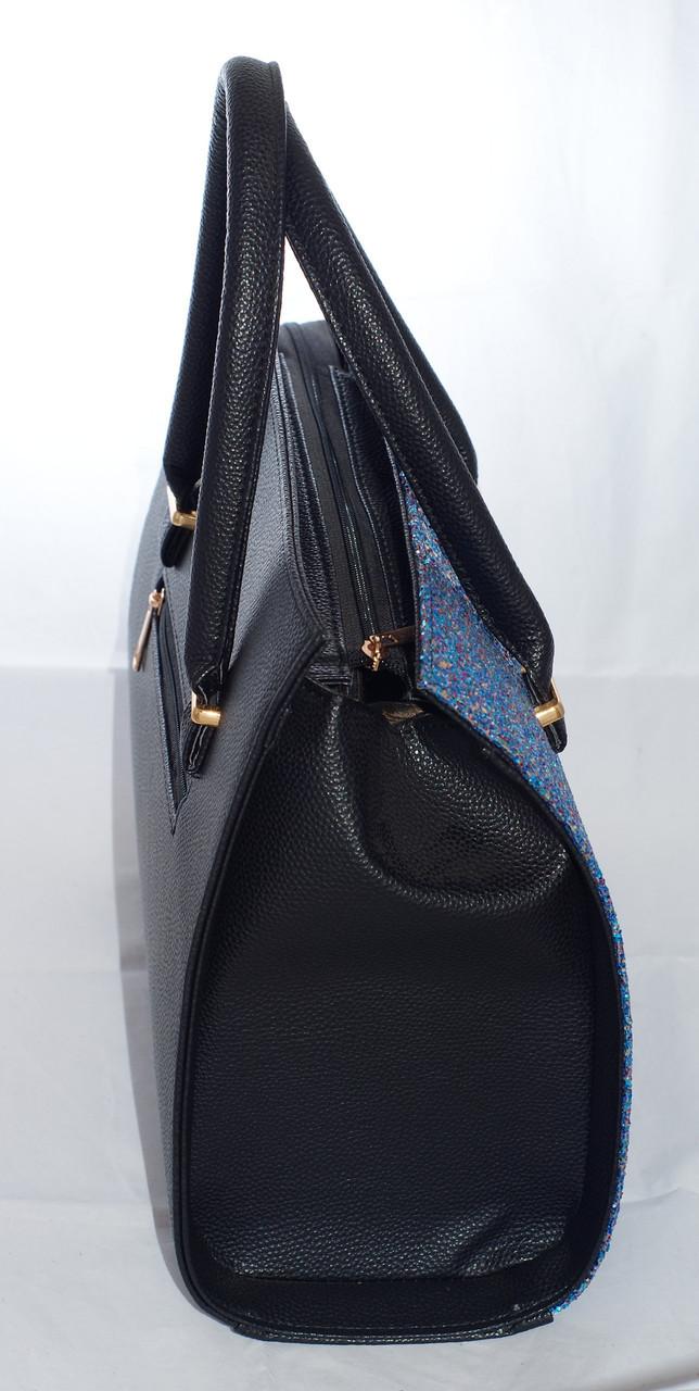 5ef2f337c91d ... Каркасная женская сумка Gucci (Гуччи), черная с синими блестками, фото 4  ...