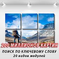 Модульная картина, холст, Горы, реки, 62x95см.  (30x30-6)