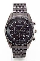 Мужские наручные часы Emporio Armani (Эмпорио Армани), антрацитовый корпусс черным циферблатом