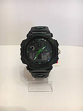 Мужские спортивные водостойкие часы SKMEI (Скмей), черный с зеленым