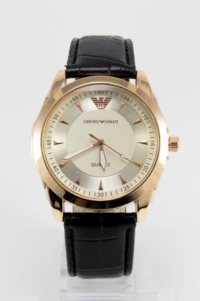 Мужские наручные часы Emporio Armani  (Эмпорио Армани), золотой корпус с серебристым циферблатом