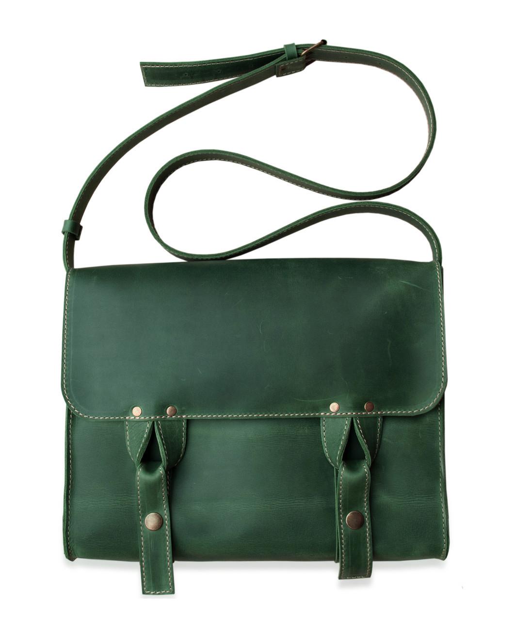 Satchel bag green, мессенджер зелёная