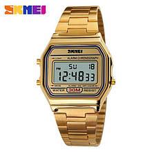 Мужские наручные часы Skmei (Скмей) 1123 Old School на металлическом браслете сзолотистым корпусом