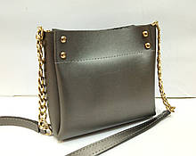 Женская мини-сумка, цвет графит (металлик)