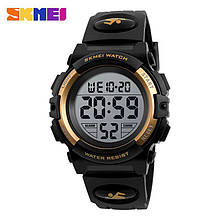 Спортивные водонепроницаемые часы Skmei (Скмеи), корпус черный с золотым