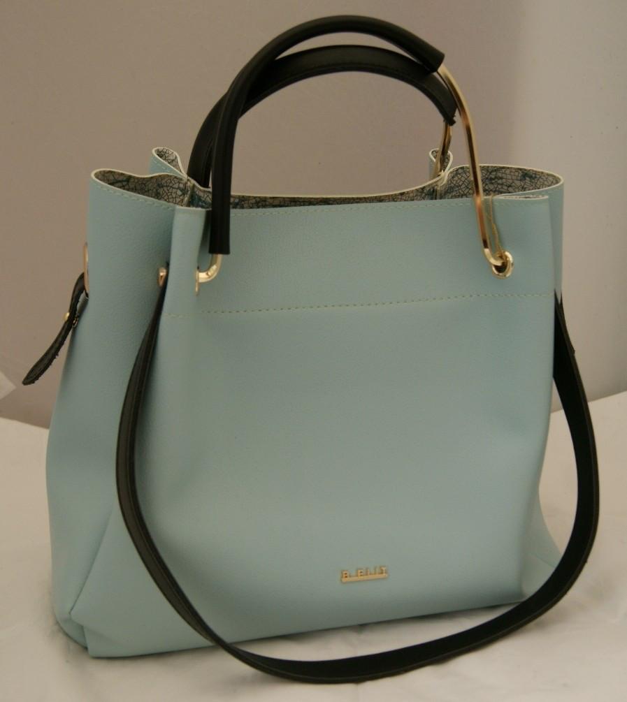 4df1bf5e52ad Женская сумка - шоппер B.Elit, голубая с черными ручками и отстёгивающейся  косметичкой -