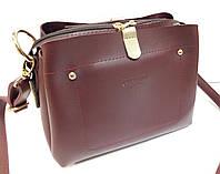 Женская мини-сумка Prada (Прада),бордовая с золотистым