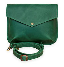 Flapbag mini green, клатч на кнопке, зелёный