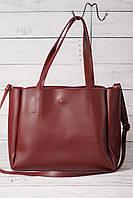 Женская сумка-шоппер Prаdа (Прада), бордовый цвет