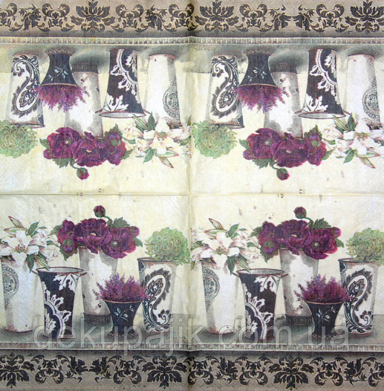 Редкая декупажная салфетка Вазоны с цветами 2385