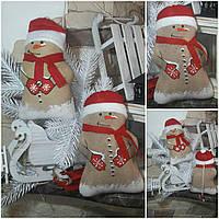 Красивый снеговичок, ручная работа,  окрашен в кофе, какао, корицу, выс.19 см., 110/90 (цена за 1 шт. + 20 гр)