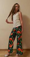 Детские летние брюки для девочки, Красный мак, 9-10 лет, Киев. Яркий подарок на день рождения, фото 1