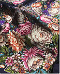 Цветочные бусы 1797-15, павлопосадский платок шерстяной  с шелковой бахромой, фото 8