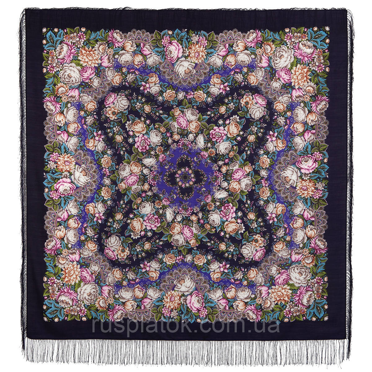 Цветочные бусы 1797-15, павлопосадский платок шерстяной  с шелковой бахромой