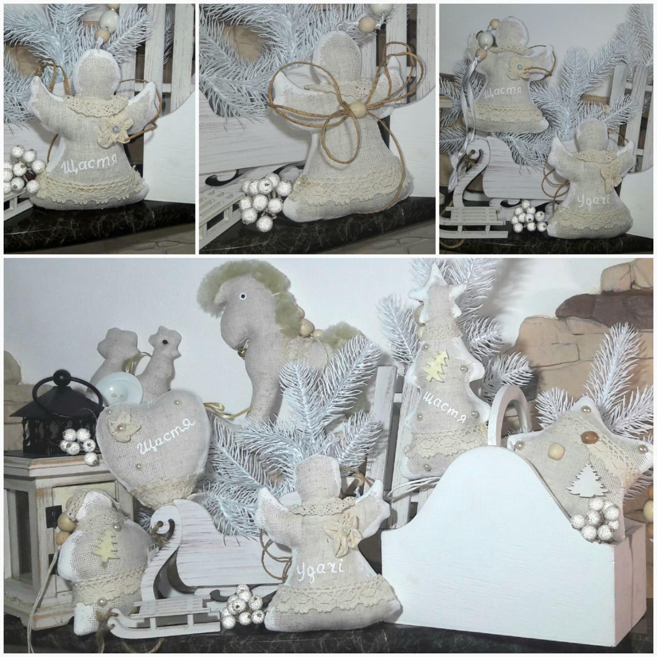 Рождественский ангел с пожеланиями, ручная работа, натуральный лен, выс. 16 см., 95/80 (цена за 1 шт. + 15 гр)
