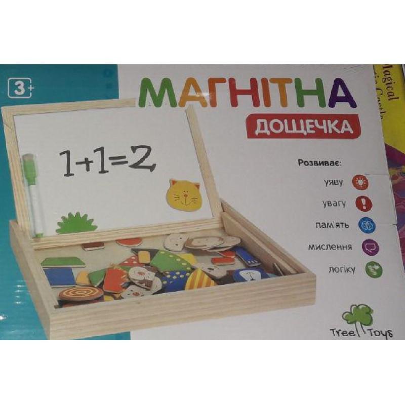 Деревянная игрушка Магнитная досточка с цифрами белая