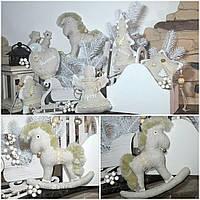 Льняная лошадка ручной работы, выс. 19 см., 130/115 (цена за 1 шт. + 15 гр)