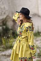 Горчичное женское вышитая платье с цветочным орнаментом на свадьбу, фото 1
