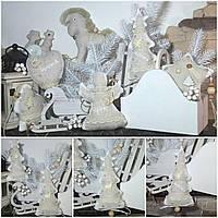 Современная елочка, ручная работа из натурального льна, выс. 18 см., 90/75 (цена за 1 шт. + 15 гр.)