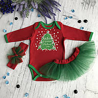 Новогодний бодик с юбкой и повязкой на девочку 21. Размер 80 см, фото 1