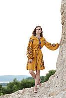 Желтое вышитое короткое платье свободного кроя с поясом, фото 1