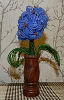 Гиацинт из бисера в вазочке из дерева. Ручная работа. Оригинальный подарок девушке на 8 Марта