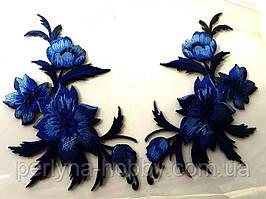 """Аплікація вишивка клейова парна """"Квіти"""" сині темні, 12-13 см 1пара"""