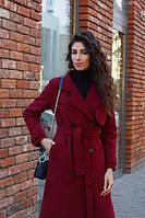 Женское кашемировое пальто тренч длина миди, цвет бордовый, серый