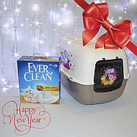 Ever Clean 6л наполнитель  из глины и туалет Ferplast Prima