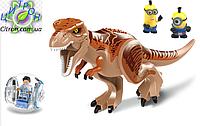 Динозавр Lele Тирекс Лего большой + шар с человечком+2 миньена. Длина 29 см. Конструктор динозавр, фото 1